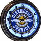 "Oldsmobile Service 17"" Blue Neon Wall Clock"