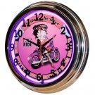"Betty Boop 17"" Purple Neon Wall Clock"