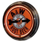 "Retro A&W Root Beer 17"" Orange Neon Wall Clock"