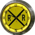 "Railroad Crossing 17"" Yellow Neon Wall Clock"