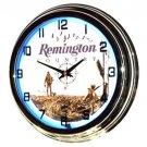 "Remington Country 17"" Blue Neon Wall Clock"