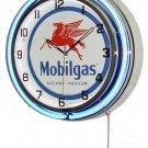 "Mobilgas 18"" Deluxe Double Blue Neon Wall Clock"