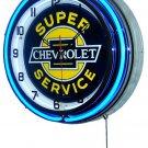 "Chevrolet Super Service 18"" Deluxe Double Blue Neon Wall Clock"
