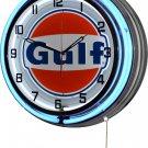 "Gulf Gasoline 18"" Deluxe Double Blue Neon Wall Clock"