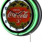"Drink Coca-Cola 5¢ 18"" Deluxe Double Green Neon Wall Clock"
