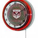 """Dodge """"Grab Life By The Horns"""" 18"""" Deluxe Double Red Neon Wall Clock"""