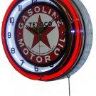 "Texaco Gasoline Logo 18"" Deluxe Double Red Neon Wall Clock"