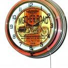 """Mother Road Repair 18"""" Deluxe Double Orange Neon Wall Clock"""
