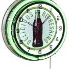 "Coca-Cola 60s Bottle & Logo 18"" Deluxe Double Green Neon Wall Clock"