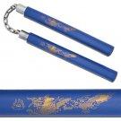 Golden Laser Printed Dragon Foam Padded Nunchaku- Blue