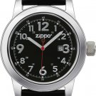 Men's Zippo Black Leather Band with Black Dial Casual Series Watch