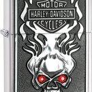 Harley-Davidson Skull Red Crystal Eyes Zippo Lighter