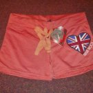 True Rock Stretch Beach Gym Dancer Workout Yoga Sexy Hot Shorts Orange Union Jack Size Petite L