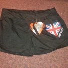 True Rock Stretch Beach Gym Dancer Workout Yoga Sexy Hot Shorts Black Union Jack Size Petite XL