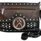 Elvis Presley Synthetic Leather Metal Branded Rhinestone Messenger Bag- Brown