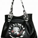 Betty Boop PVC with Rhinestones Zebra Trim Extra Large Tote