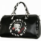 Betty Boop PVC with Rhinestones Zebra Trim Overnight Duffel Bag