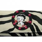 Betty Boop Synthetic Leather Ladies' Wallet- Zebra Print
