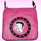 Betty Boop Synthetic Leather Messenger Bag- Hot Pink