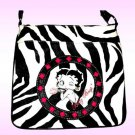 Betty Boop Synthetic Leather Messenger Bag- Zebra Print