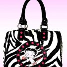 Betty Boop Synthetic Leather Satchel Bag- Zebra Print