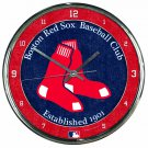 "Boston Red Sox Retro Classic Trendy 12"" Round Chrome Wall Clock"