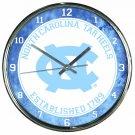 "North Carolina Tar Heels Retro Classic Trendy 12"" Round Chrome Wall Clock"