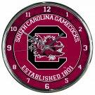 """South Carolina Gamecocks Retro Classic Trendy 12"""" Round Chrome Wall Clock"""