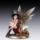 "Steampunk Fairy & Baby Dragon 10"" Figurine"
