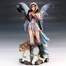 Ice Fairy Warrior w/ Poleaxe & Wolf Figurine Home Decor Accent