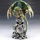 Green Dragon Perched on Skull Figurine w/ LED Light Home Decor Accent