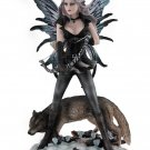 Winter Forest Fairy Archer Standing with Wolf Figurine Home Decor Accent
