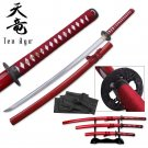 "Ten Ryu ""Severed Souls"" Burgundy Handforged Sword 3 Piece Katana Set"