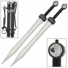 Ultimate Gladiator Twin Silver Greek Xiphos Inspired Stainless Steel Dragon Sword Set