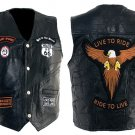 Hawg Hides Unisex Leather Biker Patches and Eagle Vest Size Medium