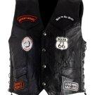 Hawg Hides Unisex Leather Biker Patches and Eagle Adjustable Sides Vest Size 4X