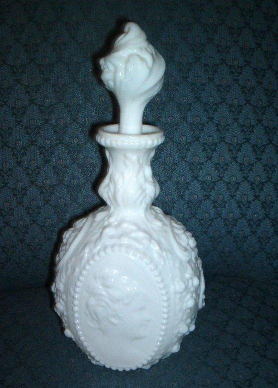 White Milk Glass Jenny Lind Dresser Bottle, Fostoria