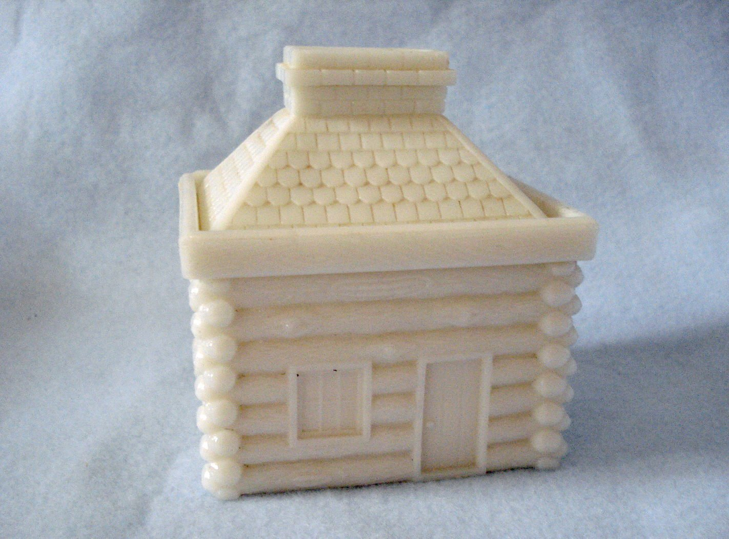 Old Milk Glass Westmoreland Cabin Bank Covered Dish