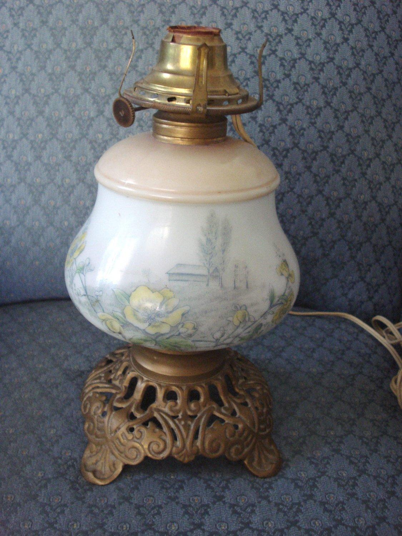 Kerosene Lamp Painted Barn & Flower Scenes Milk Glass