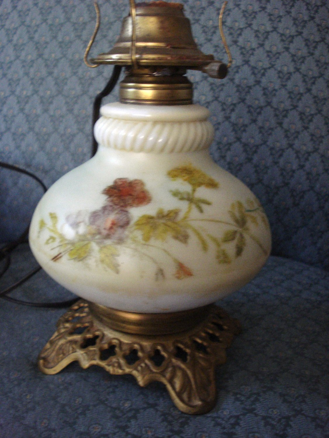 Kerosene Oil Lamp Painted Flower Scenes Milk Glass