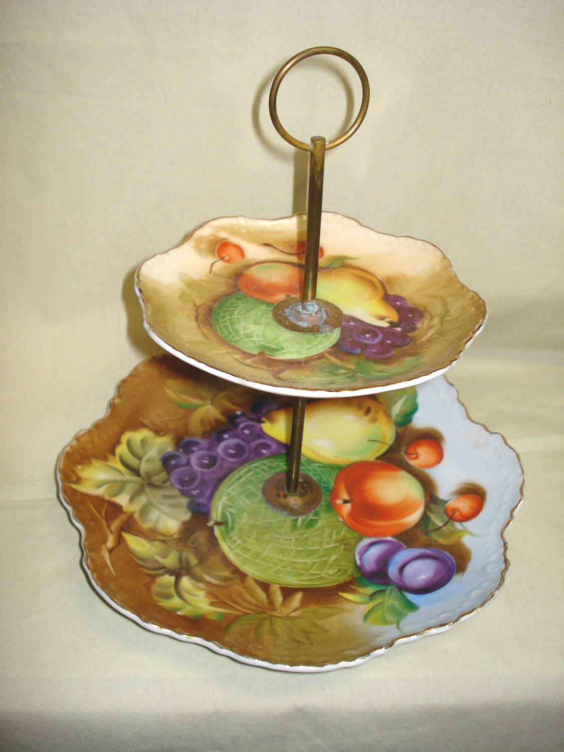 Lefton China Fruit Deco 2-Tier Handled Tid-Bit Tray