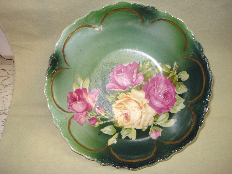 "Three Crown Porcelain 9"" Bowl Roses, Germany, Bavarian"