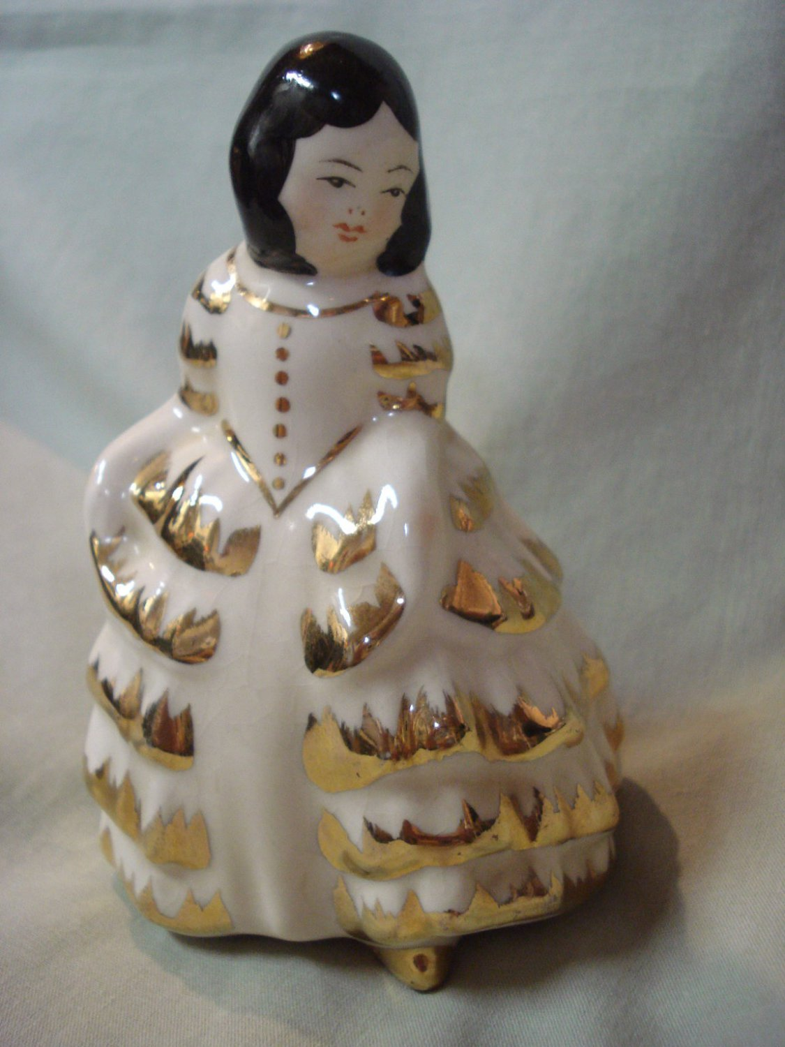 "Young Girl Porcelain Figurine In Long Ruffled White Dress, Gold Trim, 4"" High"