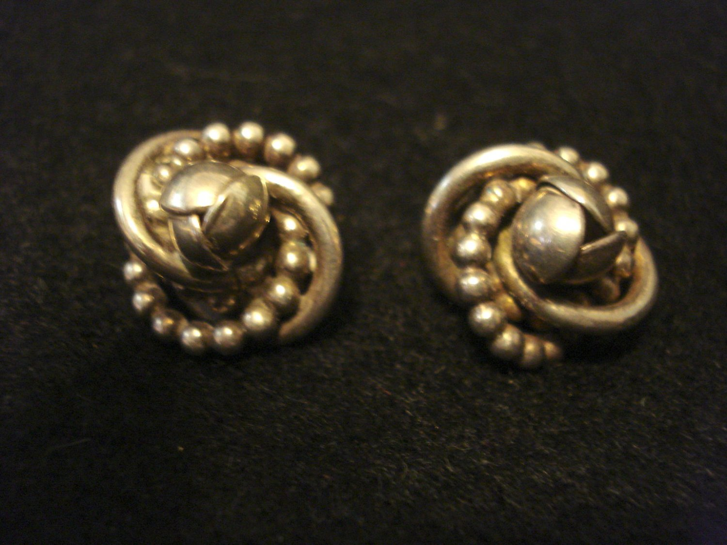 Silver Knot Vintage Earrings, marked Pat. 1987965 - Napier