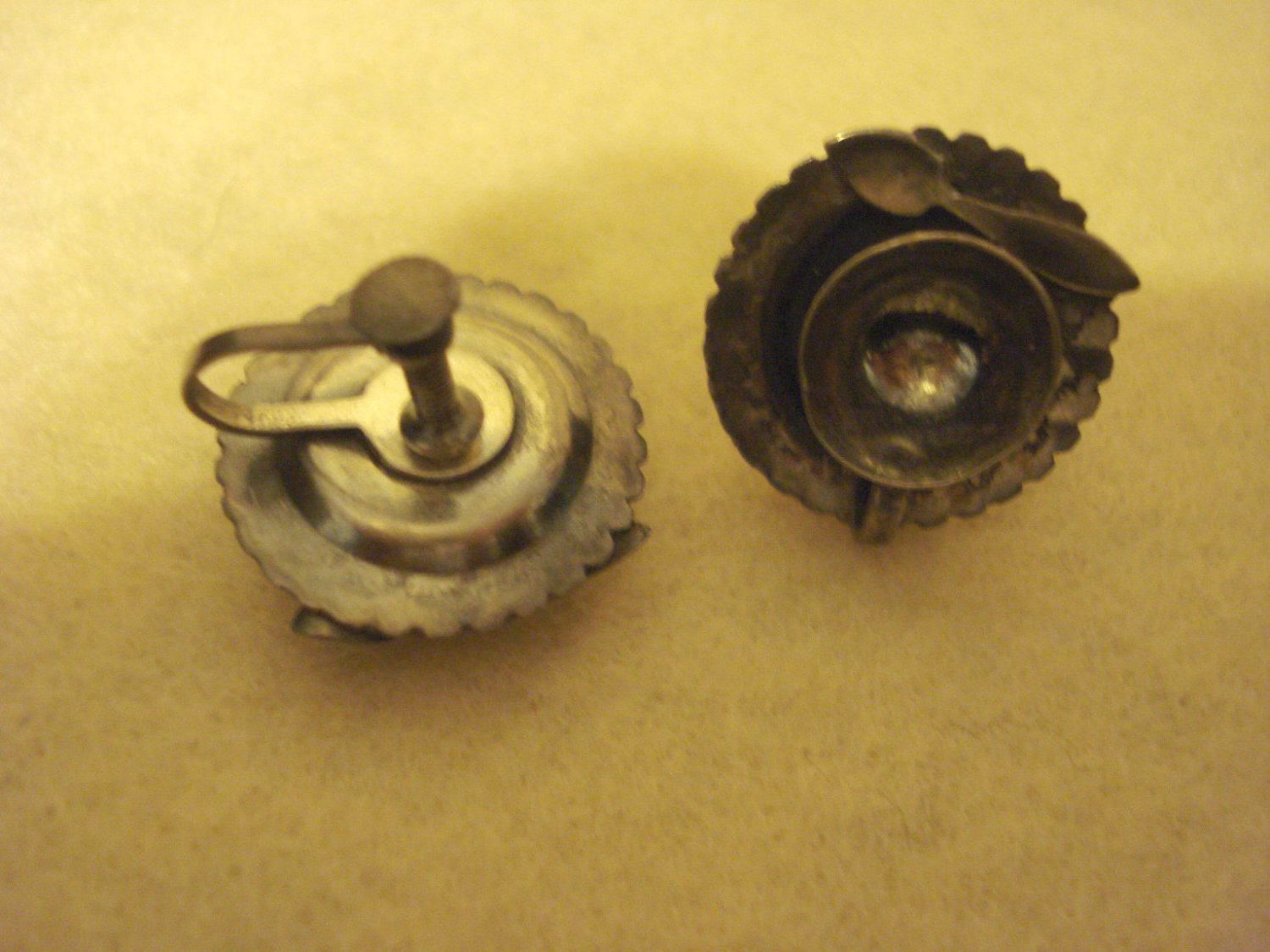 Unmarked Silver Teacup Saucer and Spoon Vintage Earrings, Screw-on