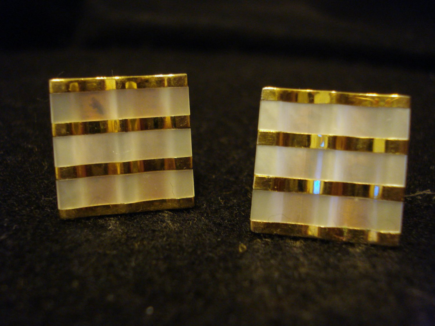 Gold tone and Mother of Pearl classic Vintage Cuff Links