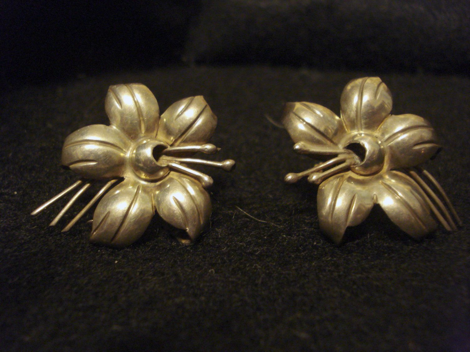 Old Sterling Silver Flower Vintage Earrings, 1-1/2 Inch, Marked, Screw-on