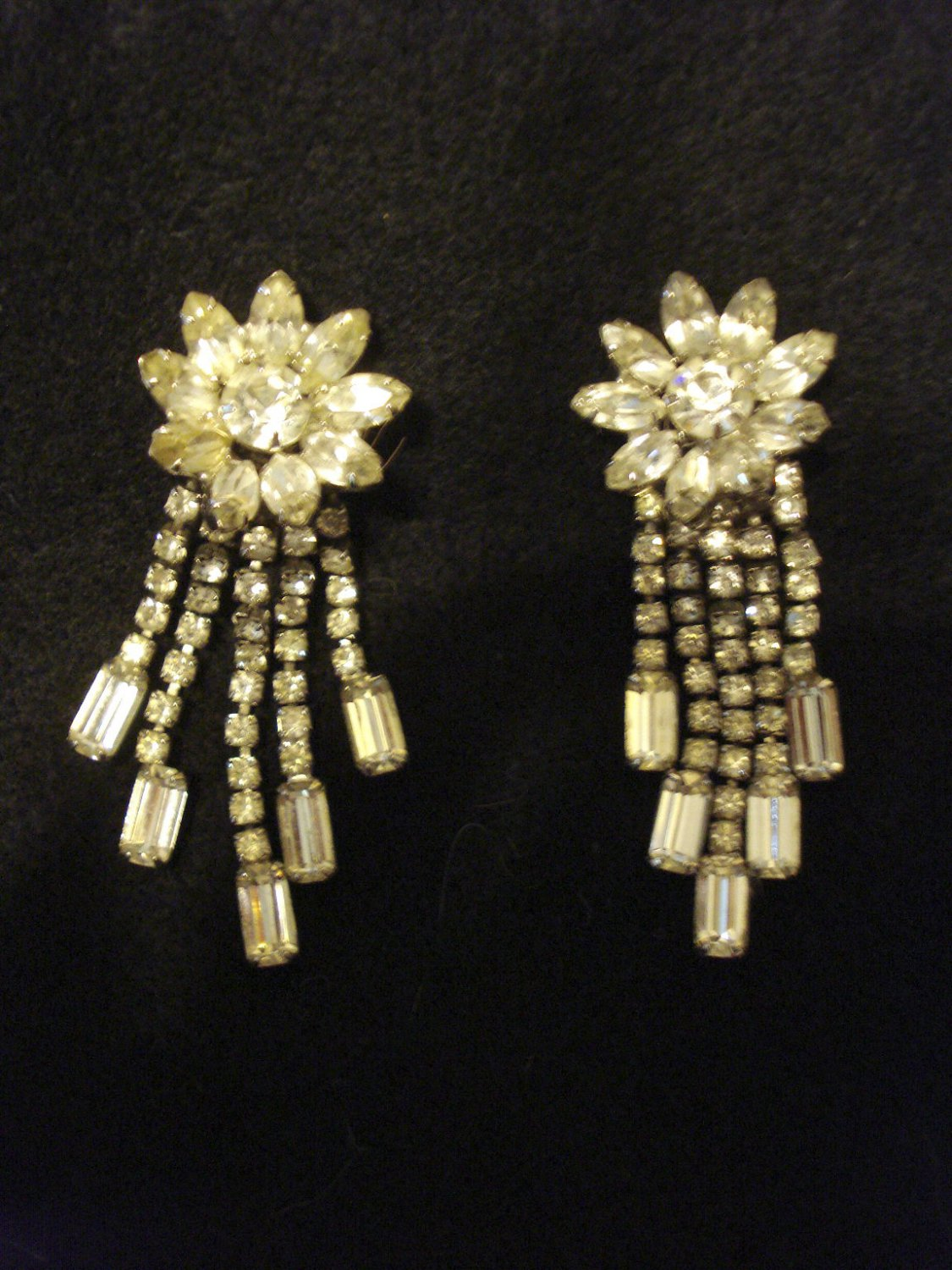 "Beautiful Vintage Rhinestone Vintage Earrings, 3"" Long, Flower and Dangle Style, Clip on"