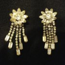 "Beautiful Vintage Rhinestone Earrings, 3"" Long, Flower and Dangle Style, Clip on"