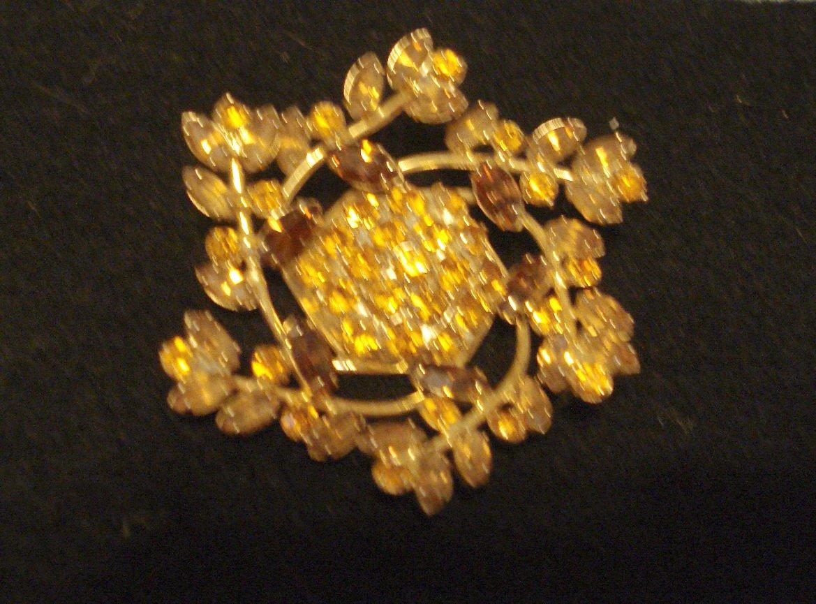 Amber Prong-Set Rhinestone Two-Tone Vintage Pin, 2-1/2 inch Diameter